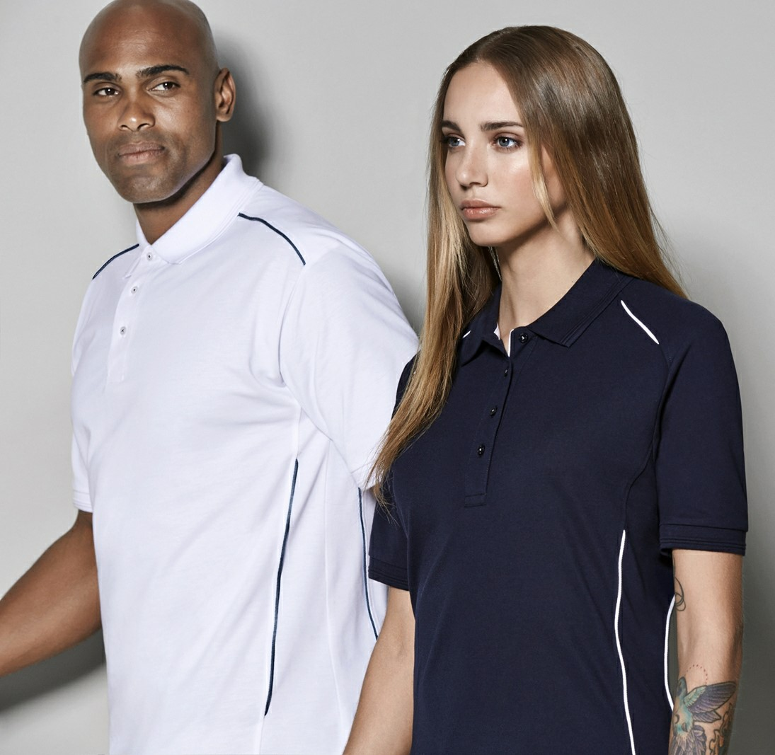 Durable polo shirt with contrast piping
